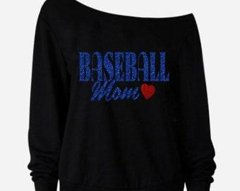 58d1f7380bf Baseball Mom Off Shoulder Sweater l Raw Edge Sweater l Women s Clothing