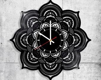 35ef5d1d0 Mandala Vinyl Wall Clock Vinyl Clock 12 inches Symbol Tattoo Art Decal Death  Unique Handmade Gifts Ideas UNIQUE GIFT idea for Him Her