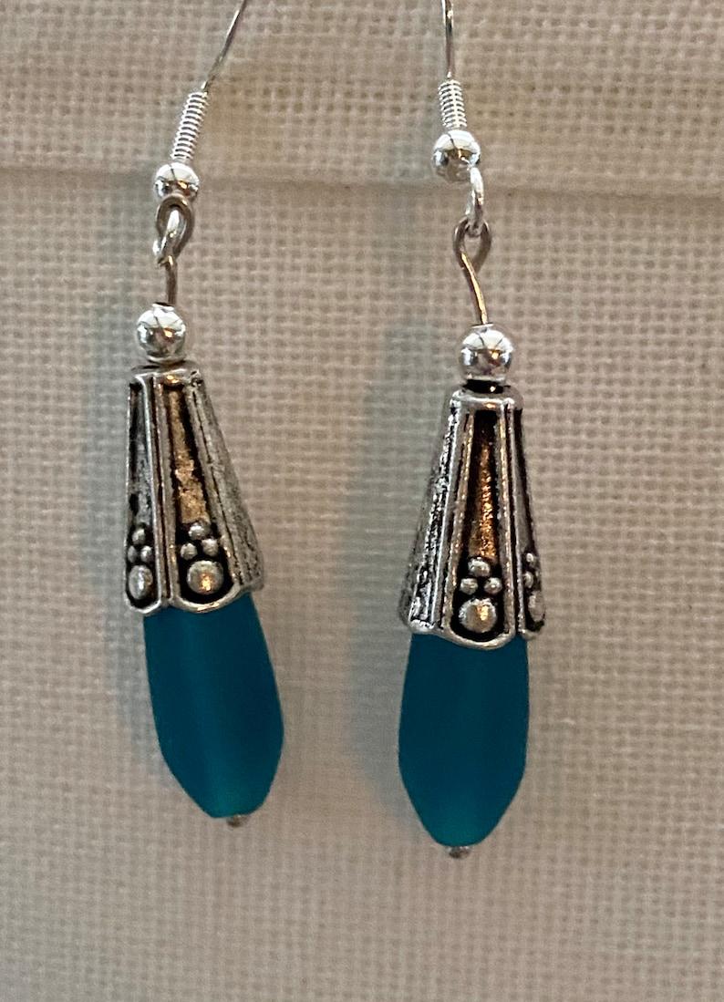 Petite Teal Sea Glass Earrings