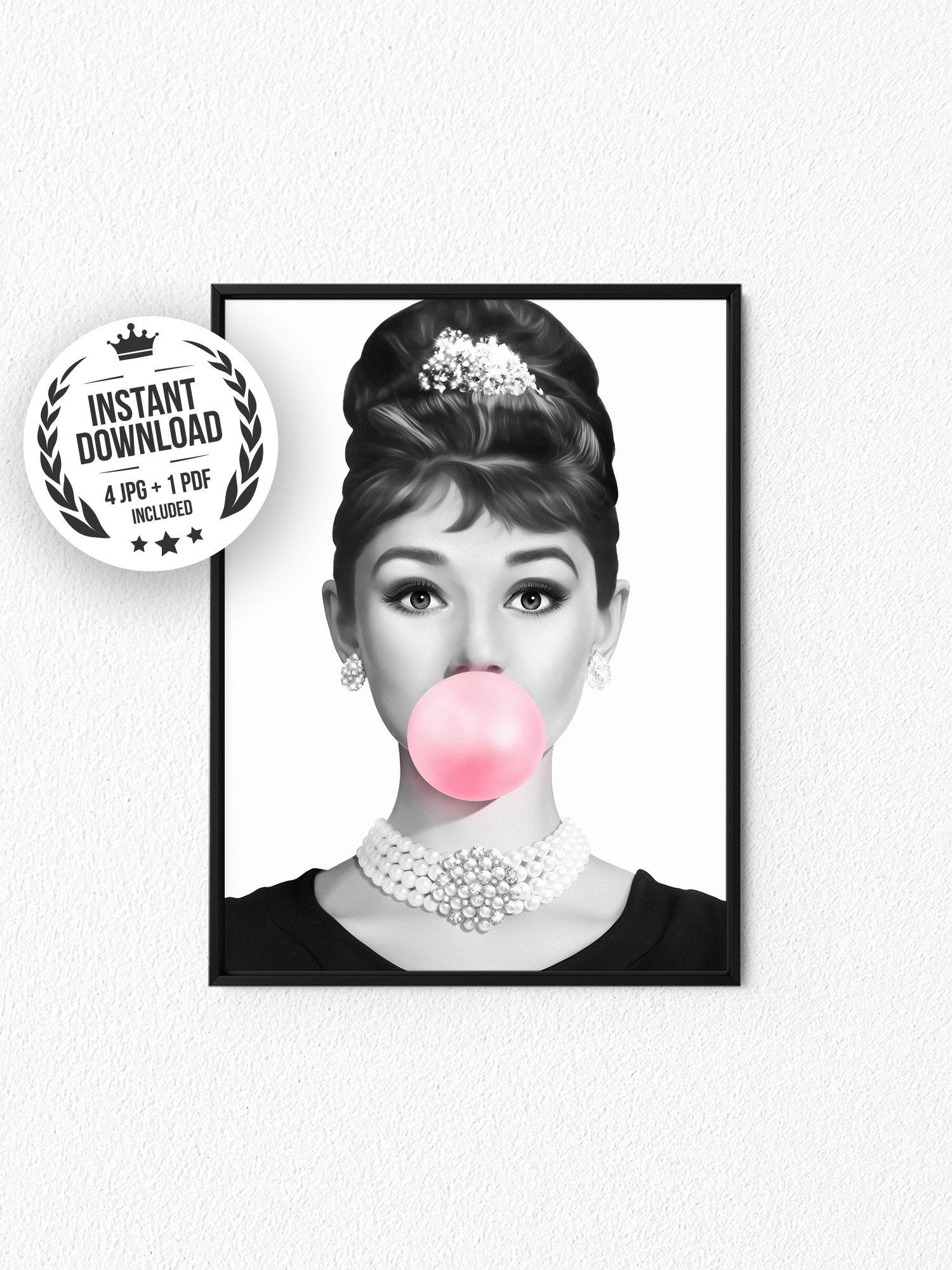 Audrey Hepburn Bubble Gum Poster Black White Print Fashion Etsy