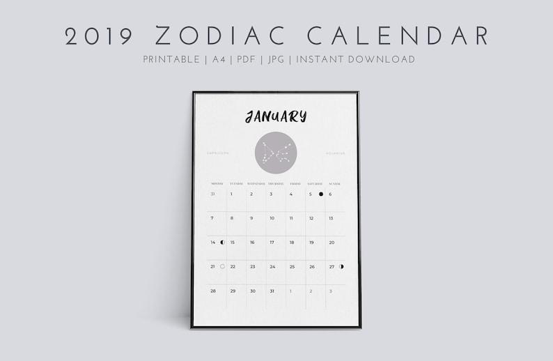 Calendario Lunare Segni Zodiacali.2019 Calendario Lunare Fase Segni Zodiacali Oroscopo Ordine Del Giorno Planner Anno Calendario Stampabile A4 Jpg Pdf Minimalista