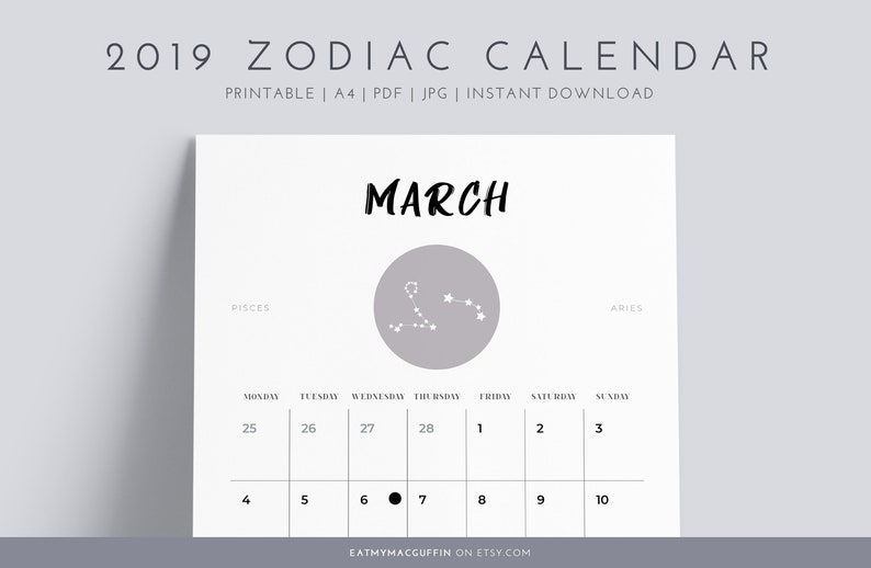 Calendario Oroscopo.2019 Calendario Lunare Fase Segni Zodiacali Oroscopo Ordine Del Giorno Planner Anno Calendario Stampabile A4 Jpg Pdf Minimalista