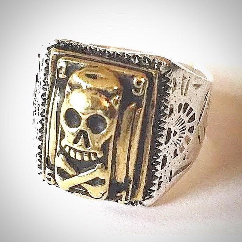 1930s 40s 50s Art Deco Skull And Crossbone Mexican Biker Ring