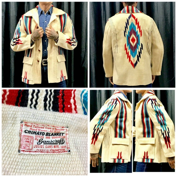 1950s Rare Mens Chimayo Blanket Jacket