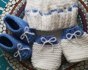 2c92ea32928e Ensemble 3 pièces pour bébé 3-6 mois   bonnet,moufles,chaussons