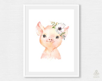 Piglet with Flowers Watercolor Print Digital Farm Country Little Animal Nursery Art Pink Pig Piggy Printable Wall Poster Frame Baby JPG P039