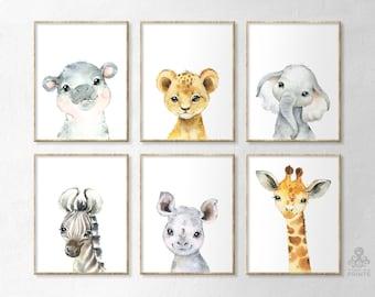 Set of 6. Little Hippo Lion Zebra Rhino Girrafe Elephant Watercolor Africa Print Digital Wild Portrait Baby Animal Nursery Art Print P138