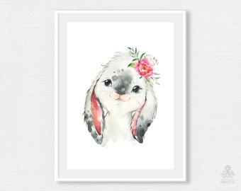 Rabbit with Flowers. Watercolor Print Digital Farm Country Little Animal Nursery Art Hare Bunny Printable Wall Poster Frame Baby JPG P038