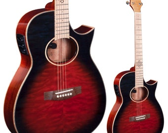 Lindo Karma Fire Slim Body Electro Acoustic Guitar with BS5M Blend Preamp and Padded Gigbag - Black Red Quilted Maple Burst
