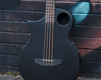 """Lindo Left Handed Neptune Short Scale (30"""") Slim Body Electro Acoustic Bass Guitar and Padded Gigbag - Matte Black"""