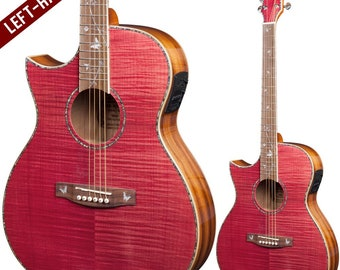 Lindo Dandelion Left Handed Pink Slim Body Electro-Acoustic Guitar with Bs5M Blend Preamp and Gig Bag