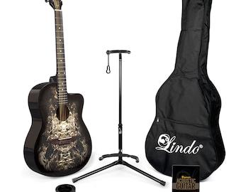 Lindo 933C Alien Black Acoustic Guitar Pack (Gig Bag, Stand, Strings, Alien Strap, Capo, 10 plectrums, DVD, CT-5 Tuner)