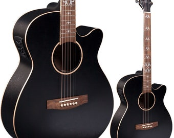 Lindo Black Fire SE Electro Acoustic Guitar with Blend Preamp and Padded Gig Bag