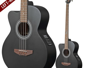 Lindo Left Handed ACB Matte Black Electro Acoustic Bass Guitar and Padded Gigbag