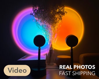 Sunset Projection Lamp - Sunset Red or Rainbow Purple  -  5W USB Table Lamp (Video Description)