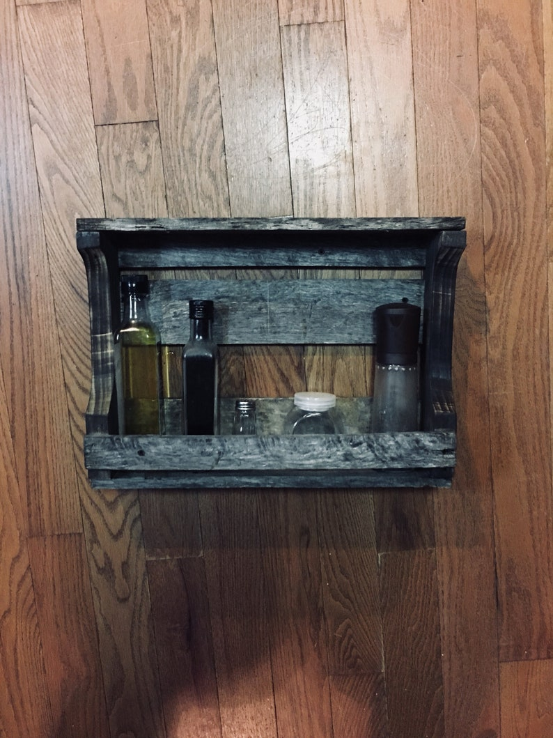 Rustic Barn wood Spice Rack / Cabin / One of a kind / Farmhouse / Handmade