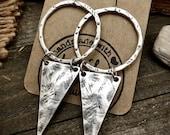 Boho Silver Dangle Earrings Bohemian Statement Earrings Silver Triangle Earrings Silver Statement Earrings Ring Circle Earrings