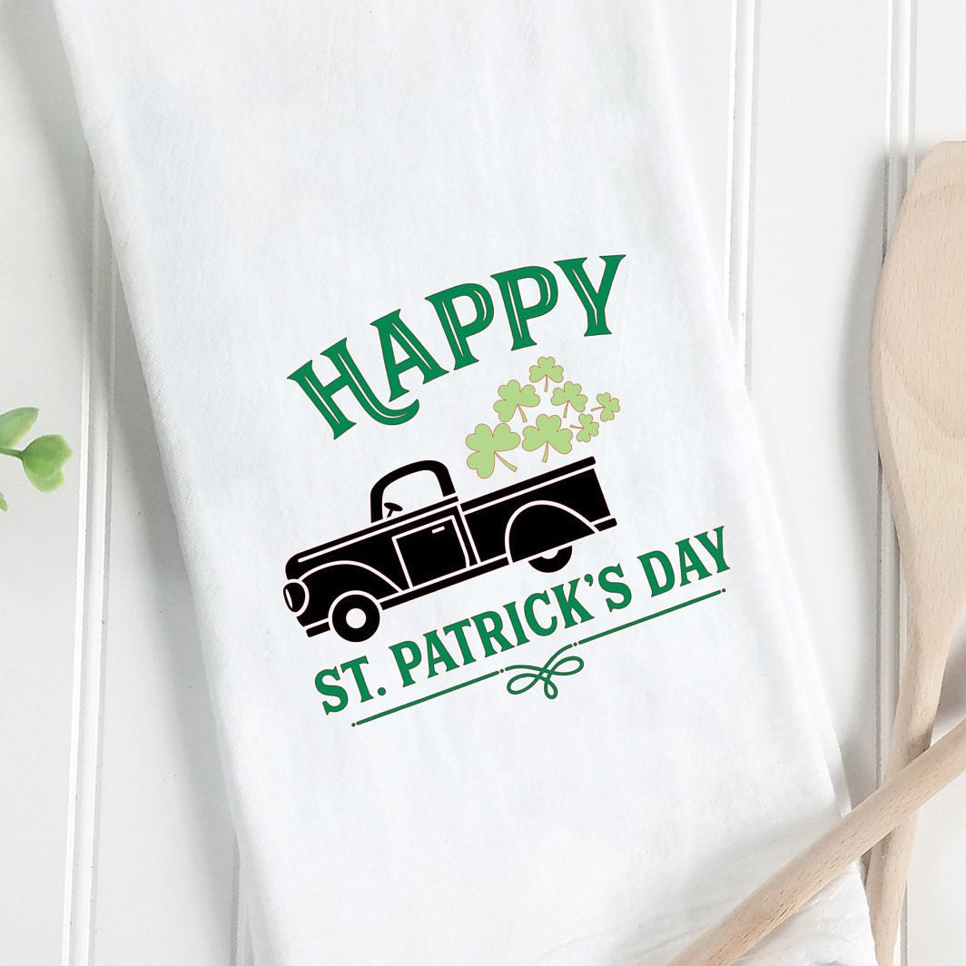 Tea Towel Truck Full Of Luck St Patrick S Day Towel Kitchen