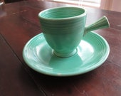 Vintage HLC Homer Laughlin Fiesta Light Green Demitasse (A.D.) Stick Handle Cup Saucer