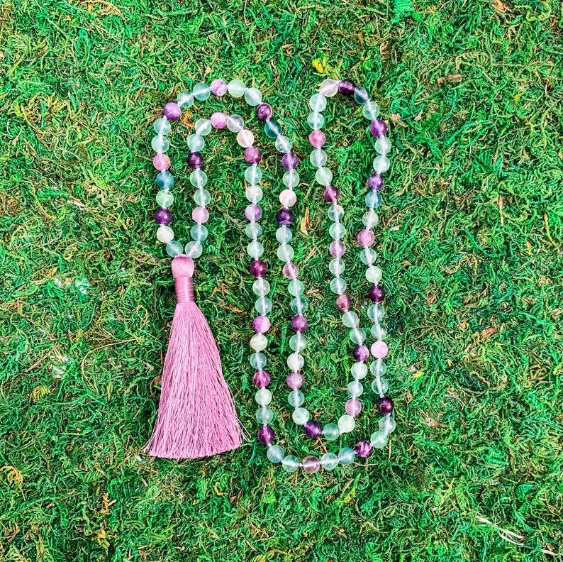 MeditationYoga Necklace CONFIDENCE Rainbow Fluorite108 Knotted Mala Necklace wSilky Lilac Tassel