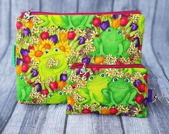 Cosmetic Bag & Keychain Set Frogs Tulips Animals NEW Make-up Bag Culture Bag Mini Purse Key Bag Handmade Spring
