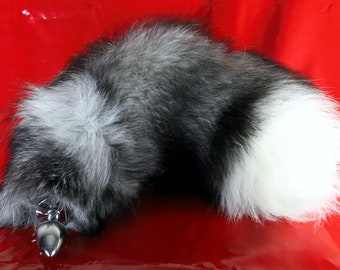 d824ce68d83 Silver Fox Tail Butt Plug Real Fur Available in 3 Sizes mature