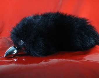 3623f0031bb Short Fluffy Black Fox Tail Butt Plug Real Fur Available in 3 Sizes mature