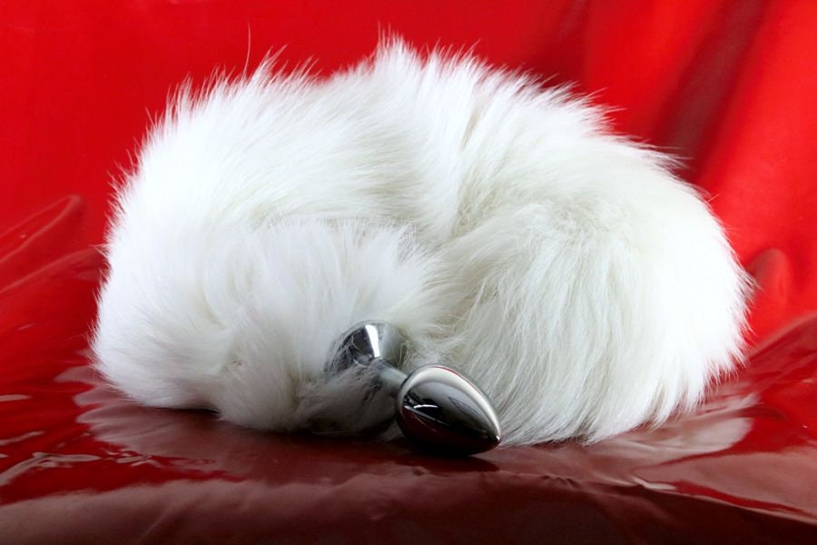 9eba294f53a White Fox Tail Butt Plug Real Fur Available in 3 Sizes mature