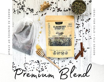 ELDERBERRY SYRUP | Makes 32oz | Brewing Bag Included | Premium Kit | Organic Ingredients