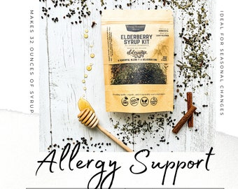 Elderberry Syrup | ALLERGY SUPPORT | Makes 32oz | Organic ingredients | Comes with Brewing Bag