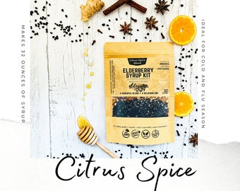 Elderberry Syrup | CITRUS SPICE | Makes 32oz | Brewing Bag Included | Organic Ingredients