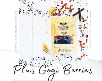 Elderberry Syrup | GOJI BERRIES | Makes 32oz | Brewing Bag Included | Organic Ingredients