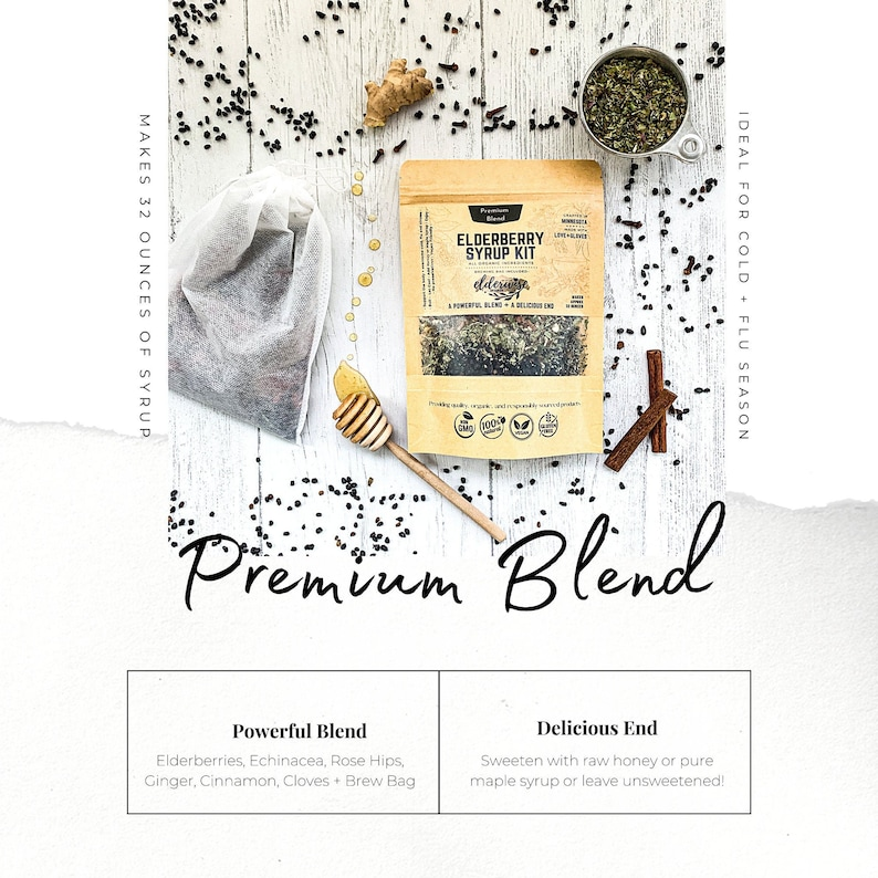 ELDERBERRY SYRUP  Makes 32oz  Brewing Bag Included  Premium image 0
