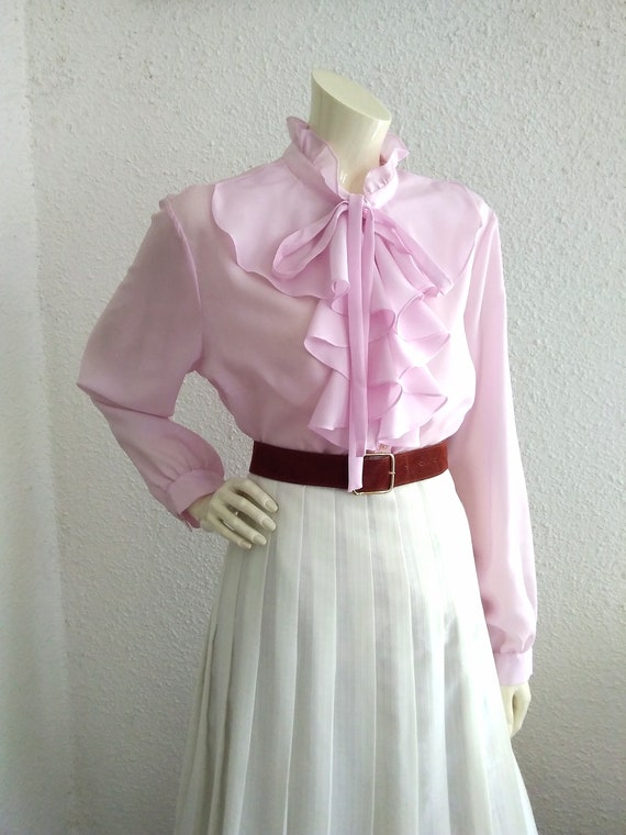 70s pussy bow blouse ruffled collar long sleeves … - image 3