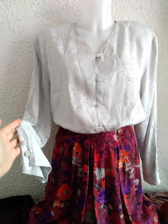 minimalist floral jacquard  shirt 80s grey color f