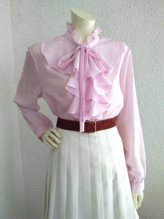 70s pussy bow blouse ruffled collar long sleeves … - image 9