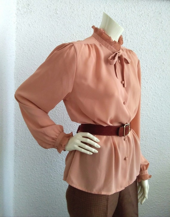 70s-80s pussy bow top pleated ruffled blouse vict… - image 2