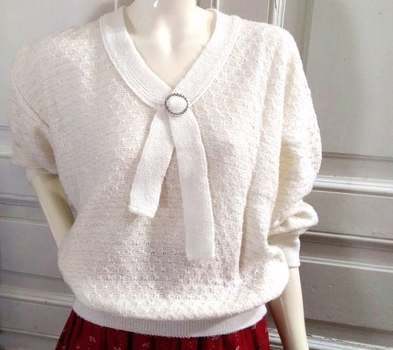80s pussy bow collar sweater knitted spring blouse golden lurex shiny blouse glitter top acrylic bohemian tie neck sweater large sleeve C/&A