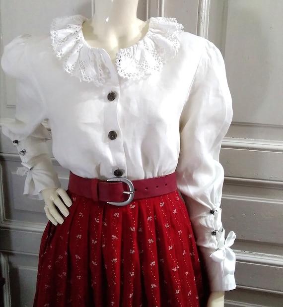 folk blouse baloon puffy sleeve top lace collar bl