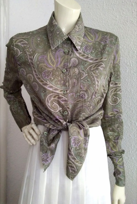 90s does 40s-50s paisley blouse cotton grey sprin… - image 7