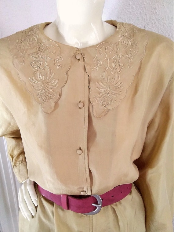 floral embroidery silk blouse sailor collar state… - image 2