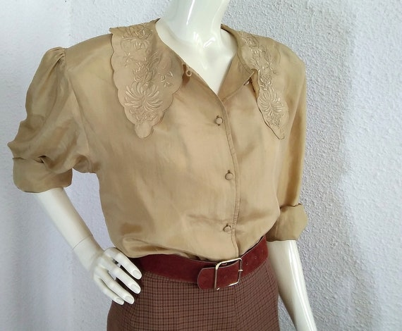 floral embroidery silk blouse sailor collar state… - image 8