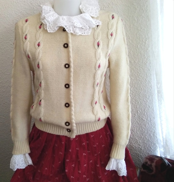 tyrolean austrian cardigan wool embroidered tracht
