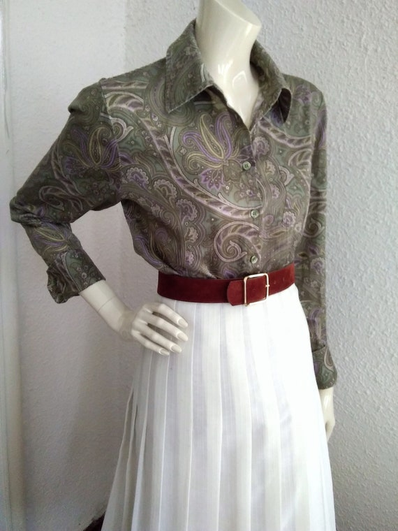 90s does 40s-50s paisley blouse cotton grey sprin… - image 2