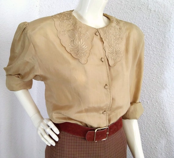floral embroidery silk blouse sailor collar state… - image 4
