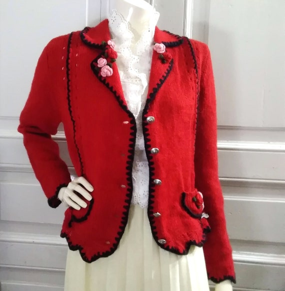 folk cardigan embroidered red sweater trachten bav