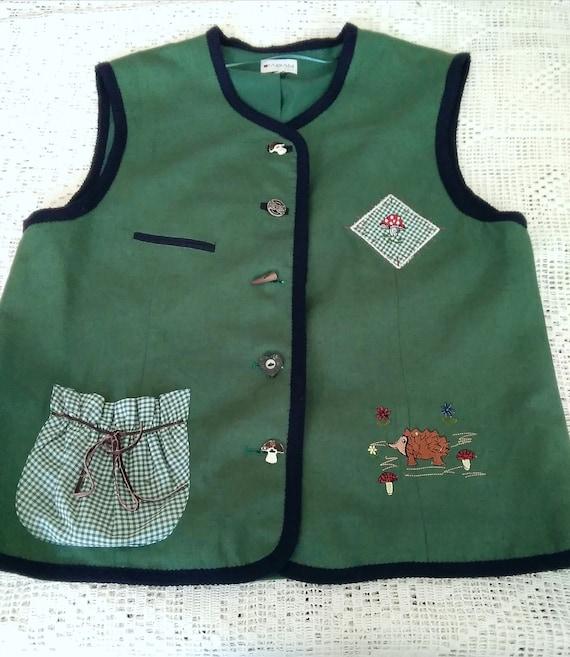 80s embroidered folk vest button-up pop-art color… - image 4