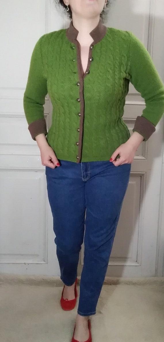 green lambswool cardigan simple minimalist basic s