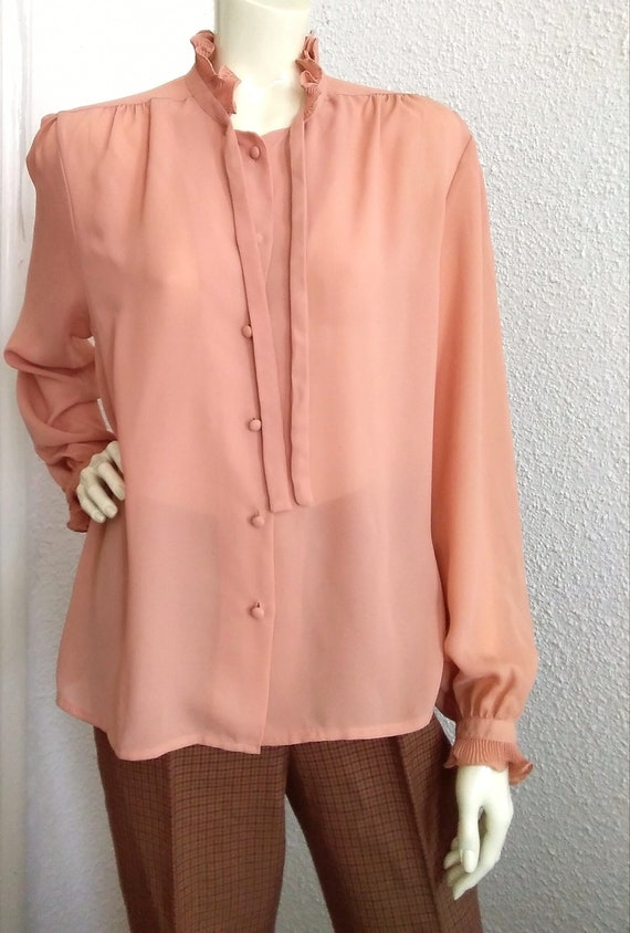 70s-80s pussy bow top pleated ruffled blouse vict… - image 10