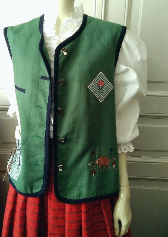 80s embroidered folk vest button-up pop-art color… - image 3
